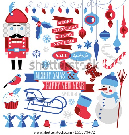 Christmas elements - stock vector