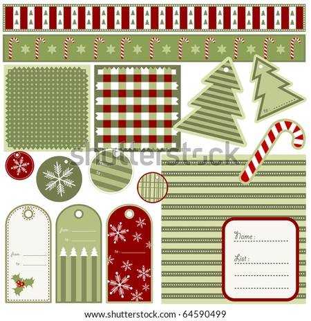 Christmas elements and patterns, vector - stock vector