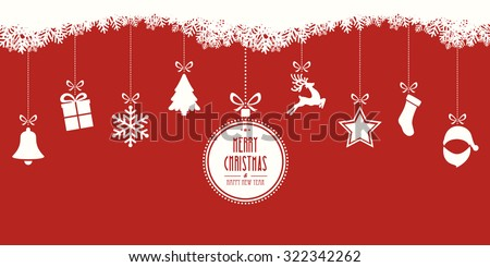 christmas elements hanging red background - stock vector