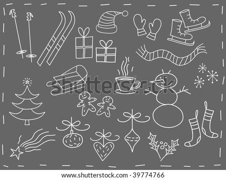 Christmas elements in white - vector version - stock vector