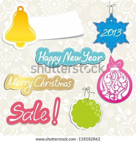 Christmas elements. New Year stickers. - stock vector