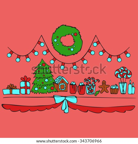 christmas elements, new years food and decor - stock vector