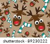 Christmas elements on seamless pattern with cute Reindeer & scarf  in  light brown color background for Christmas & other occasions. - stock photo