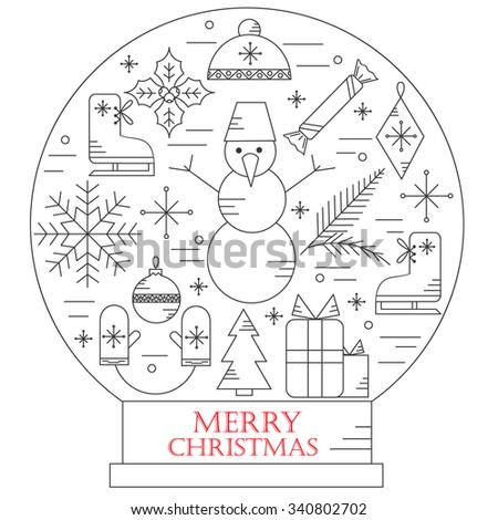 Christmas elements outline icons set. Thin line winter and Christmas time icons set for web design, applications. - stock vector
