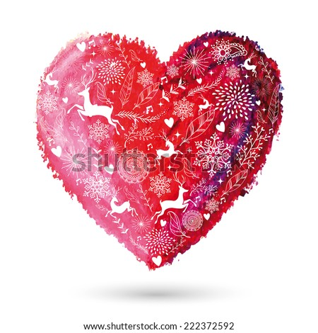 Christmas elements over oil pastel hand drawn art love heart. EPS10 vector file organized in layers for easy editing. - stock vector