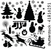 christmas elements silhouetts - vector - stock vector