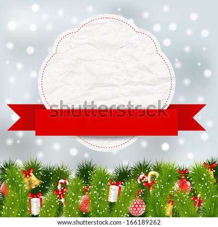 christmas elements with banner - stock vector