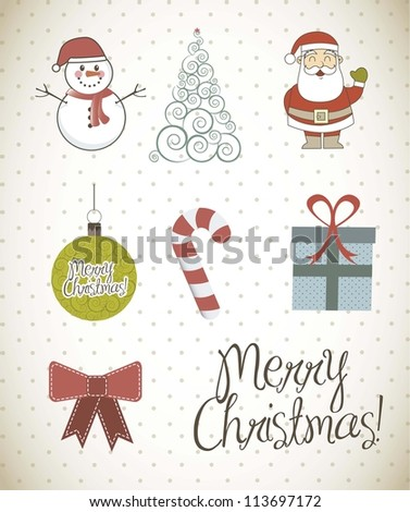 christmas elements with vintage style. vector illustration