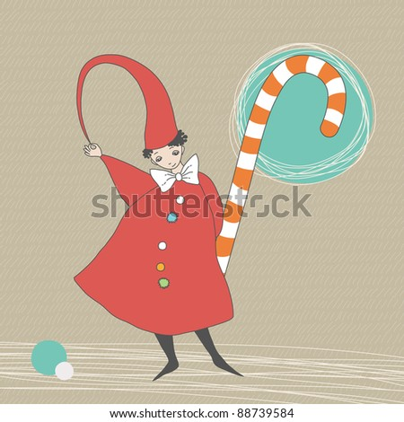 Christmas elf and striped candy - stock vector