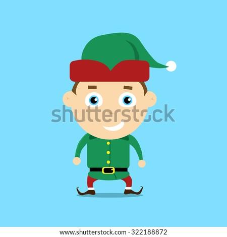 Christmas Elf Cartoon Character Santa Helper Flat Vector Illustration - stock vector