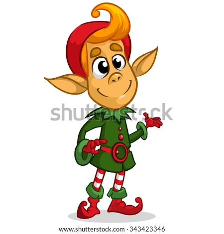 Christmas elf character in Santa hat. Illustration of Christmas greeting card with cute elf on simple white background.