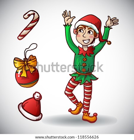 Christmas elf. Funny holiday character. vector set. santa hat, toy,candy
