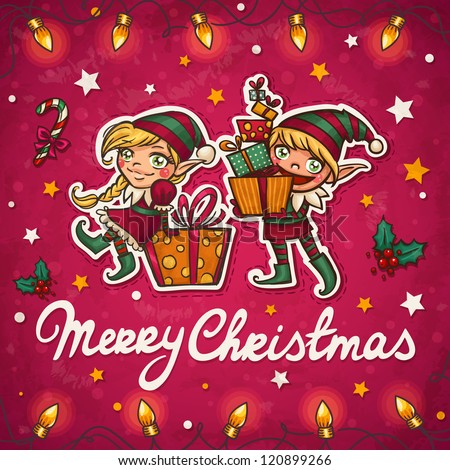 Christmas elf greeting card - stock vector