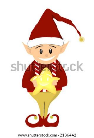 Christmas Elf holding Star - Vector - stock vector