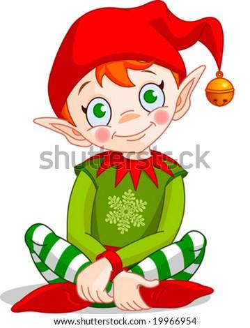 Christmas Elf sitting - Vector. - stock vector