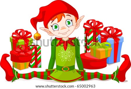 Christmas Elf sitting with  a pile of gifts - stock vector