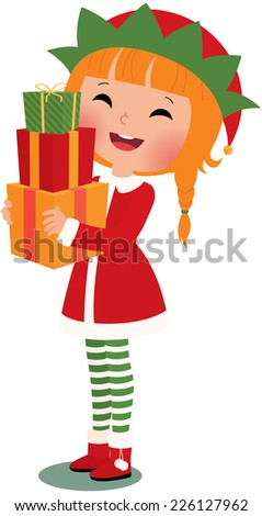 Christmas elf with christmas gifts on a white background/Christmas elf on a white background/Illustration Christmas Elf with a white background in full length - stock vector