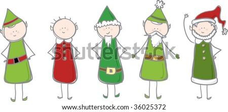 Christmas Elves - stock vector