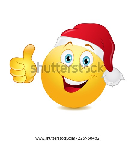 Christmas emoticon with thumb up on a white background. - stock vector