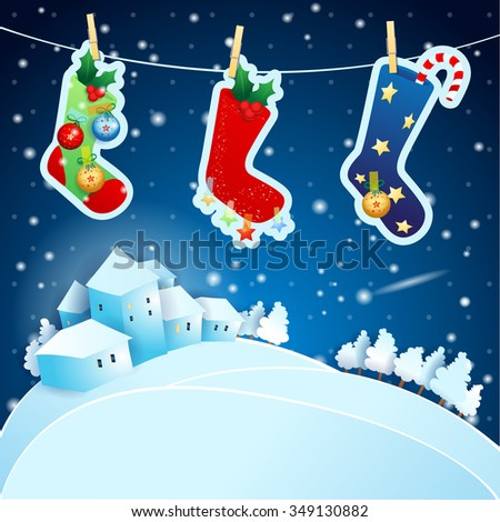 Christmas Eve with socks and landscape, vector illustration  - stock vector