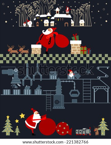 Christmas factory Funny Santa Claus preparing gifts for Christmas  - stock vector