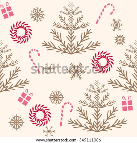 Christmas fair trees and snowflakes pattern. Beige background.