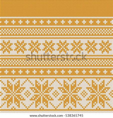 Christmas Fairisle Sweater Design Gold Seamless Stock Vector