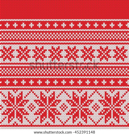 Christmas Fairisle Sweater Design Seamless Knitting Stock Vector ...