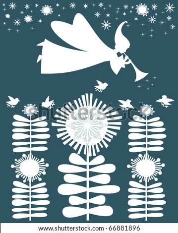 Christmas Fairy Angel in cartoon style, made of snow elements, vector card. - stock vector