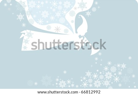 Christmas Fairy Angels in cartoon style,  made of snow elements, vector card. - stock vector