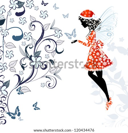 Christmas fairy for your design - stock vector