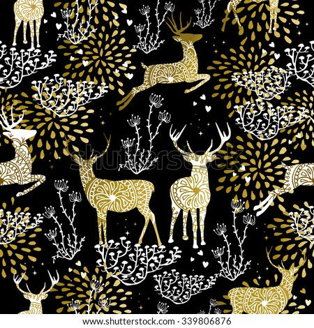 Christmas fancy gold seamless pattern with deer and nature elements on black background. Ideal for xmas card design, holiday wrapping paper or print. EPS10 vector. - stock vector