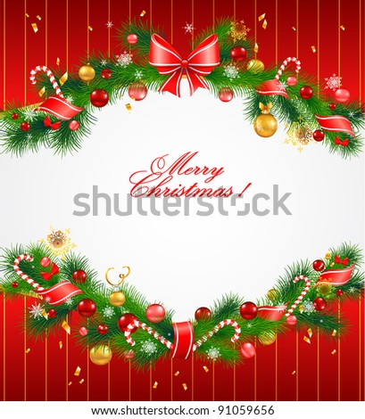 Christmas festive background with fir tree - stock vector