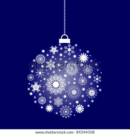 Christmas festive ball with a lot of flakes - stock vector