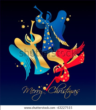 Christmas figured Angels with golden stars on a dark blue background. Vector illustration. - stock vector