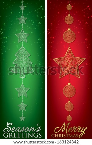 Christmas filigree banners in vector format. - stock vector