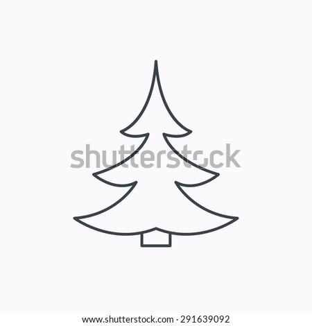 Christmas fir tree icon. Spruce sign. Winter forest symbol. Linear outline icon on white background. Vector - stock vector