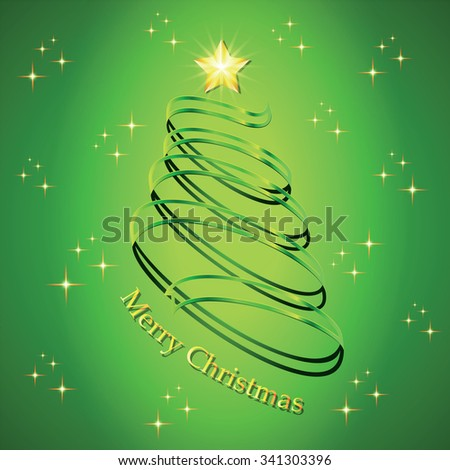 Christmas fir tree silhouette made from green twisted tape. Vector illustration. - stock vector