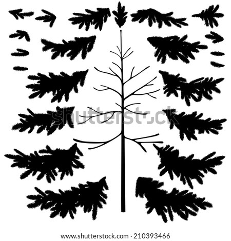 Christmas fir tree trunk and branches black silhouettes set isolated on white background. Vector - stock vector