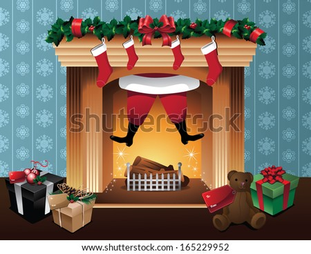 Christmas fireplace, Santa Claus magically flies back up the fireplace after leaving gifts. EPS 10 vector, grouped for easy editing. No open shapes or paths. - stock vector