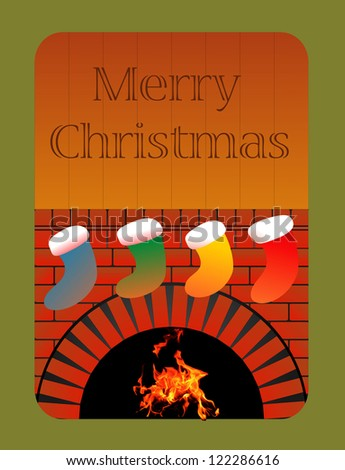 Christmas fireplace vector image - stock vector