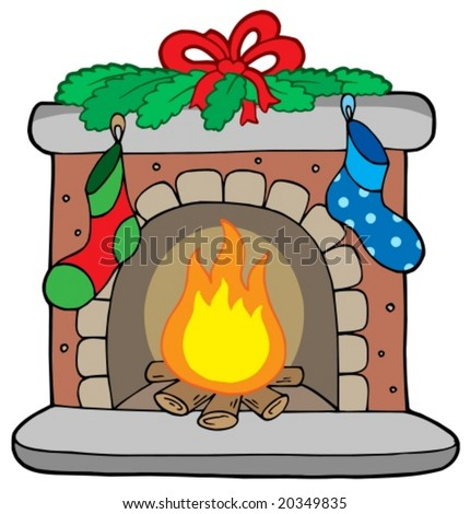 Christmas fireplace with stockings - vector illustration.