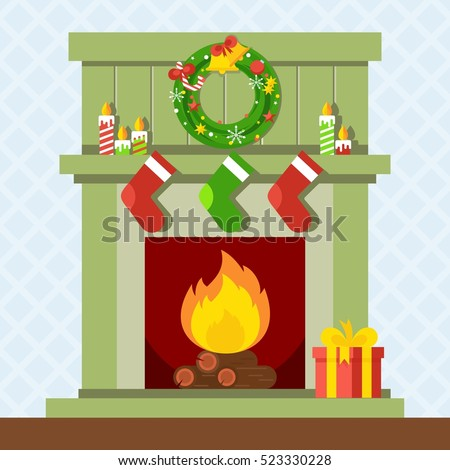 Christmas Fireplace Xmas Fire Home Decoration Stock Vector ...
