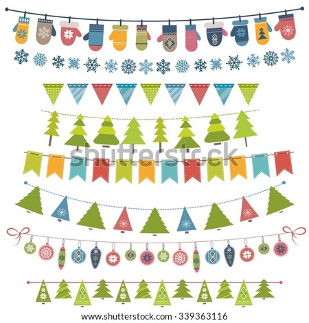 Christmas flags, bunting and garland set - stock vector