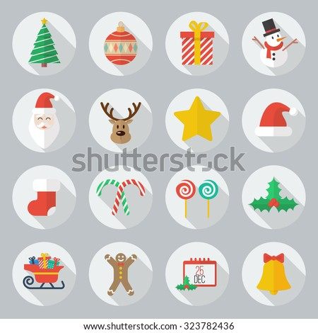 Christmas Flat Icon With Long Shadow Set - stock vector