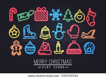 Christmas flat icons in neon style drawing with color thin lines on black background - stock vector