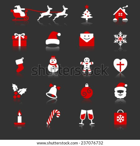 Christmas flat with reflection icons - stock vector
