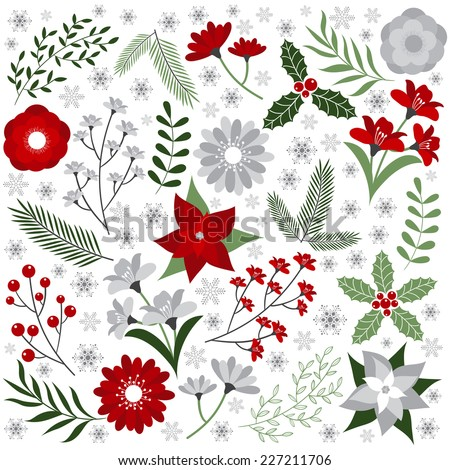 Christmas Floral Set - stock vector