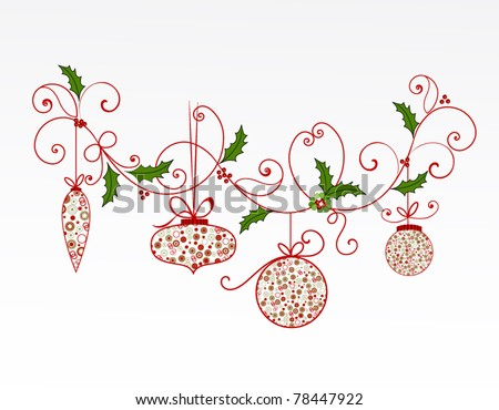 Christmas flourish and baubles (layered) - stock vector