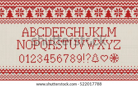 Christmas Font Knitted Latin Alphabet On Stock Vector Hd Royalty